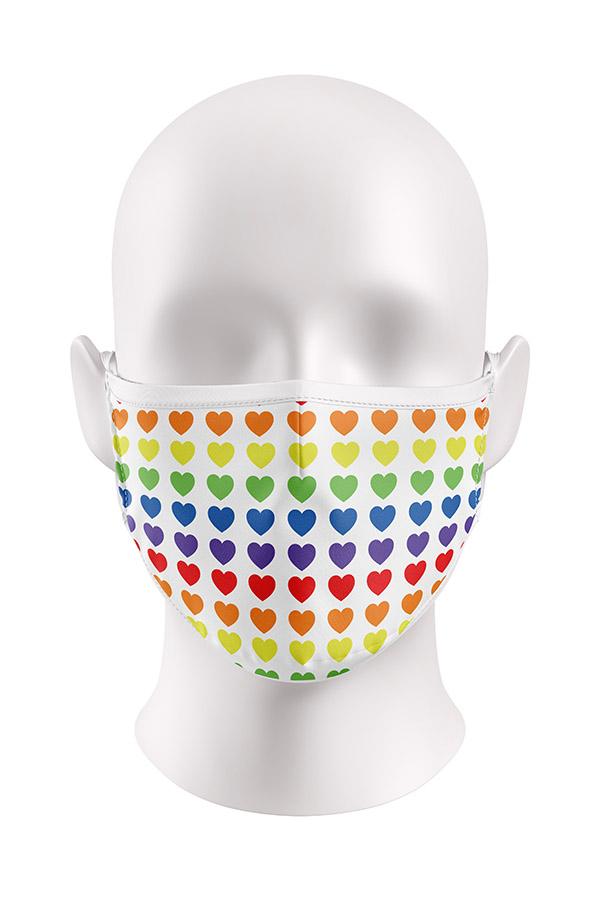 Rainbow Hearts Viroblock Facemask
